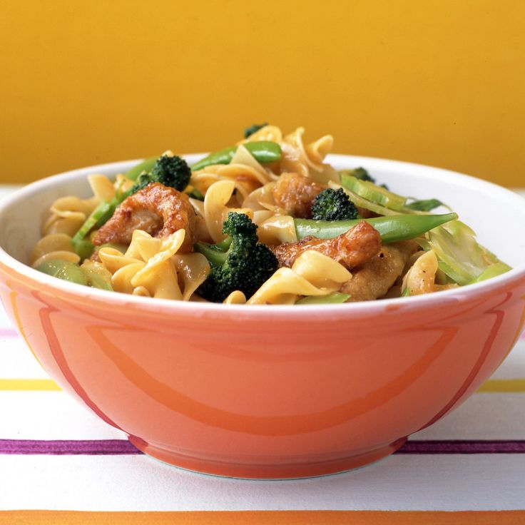 Orange juice, hoisin sauce, and cider vinegar give this pasta its sweet-and-sour flavor. The vegetables are quickly cooked so they stay crisp. You can use almost any type of noodle in this dish, including traditional Asian noodles such as udon, available