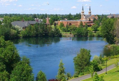 Gonzaga University from across the Spokane River