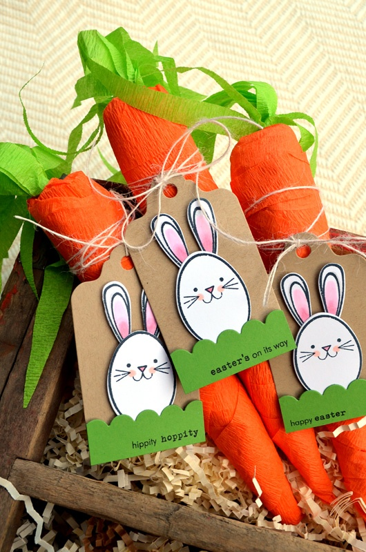 Easter Bunny tags on crepe paper carrots filled with jelly beans ... really cute!!!