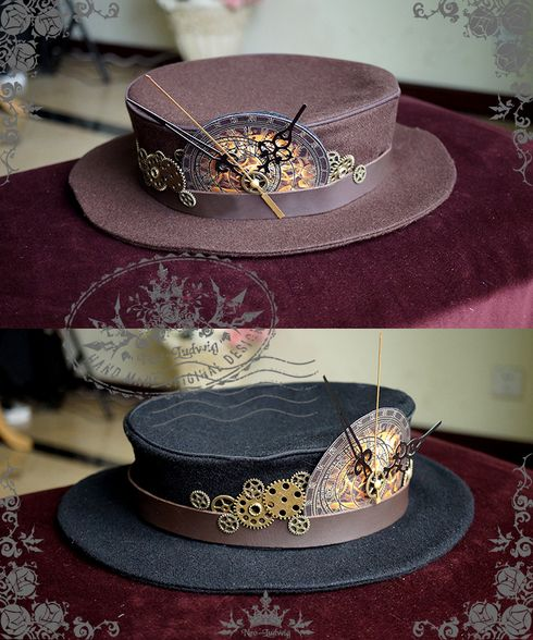 Fanplusfriend Lady's Beyond the End of Time Series Steampunk Gear Wheel Decorated Woolen Flat Hat