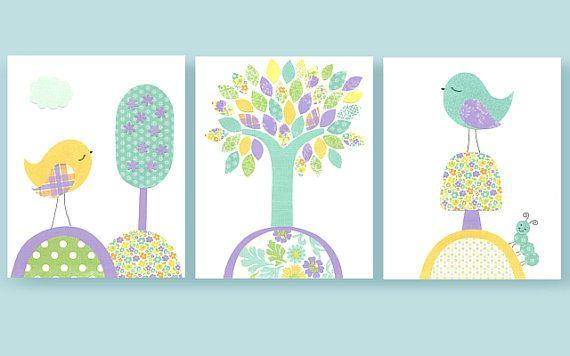 Aqua, Purple, Yellow Nursery, Birds, Tree, Girl Nursery Art, Turquoise, 8 x 10, Cute Bird Art, Matches Kumari Bedding