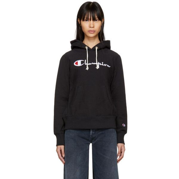 Champion Reverse Weave Black Big Logo Warm-Up Hoodie ($150) ❤ liked on Polyvore featuring tops, hoodies, black, drawstring hoodie, hooded pullover, logo hoodie, drawstring hooded pullover and champion hoodie