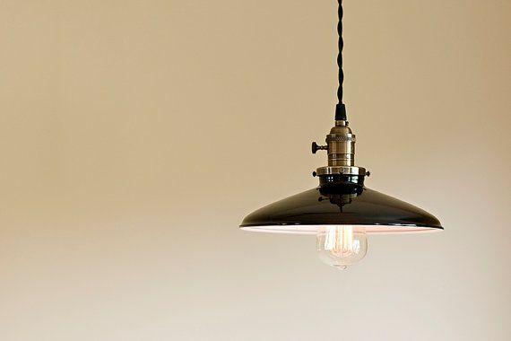 """Black porcelain enamel metal pendant light 10"""" on Etsy for over kitchen islanx"""