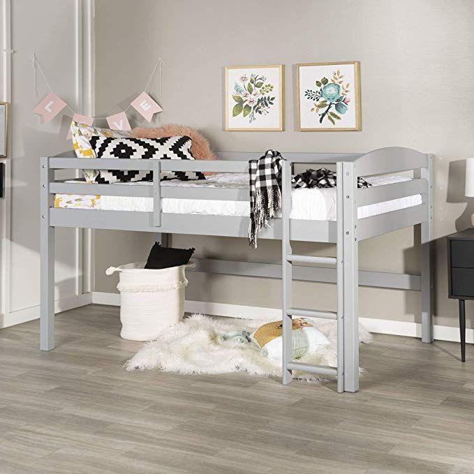 Amazon Com We Furniture Azwstollgy Loft Twin Bed Gray Kitchen Dining Loft Bed Frame Twin Loft Bed Loft Bed