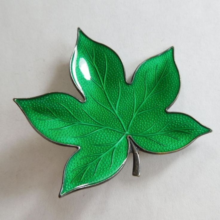Finn Jensen Spring Green Guilloche Enamel Leaf Pin - Norway Scandinavian