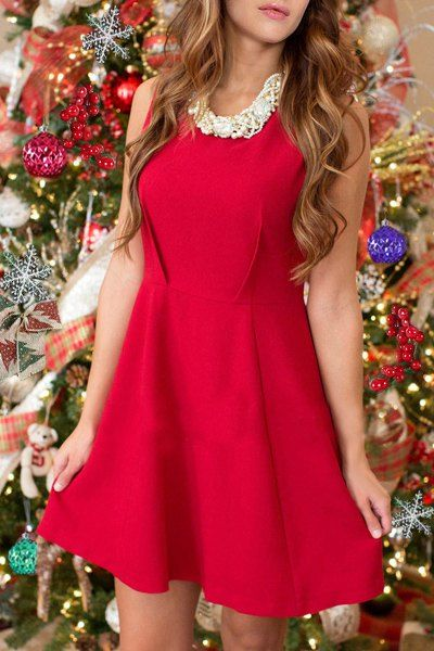 Christmas Scoop Neck Sleeveless Solid Color Women's A-Line Dress
