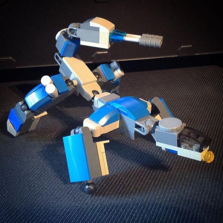 New (mostly) Lego creation ; Four-legged combat robot with twin laser guns in a scorpion tail shape. This model was mostly inspired by japanese anime spider tanks #lego #legos #legostagram #legomoc #legophotography #toystagram #toys #nerd #legobricks #moc #afol #toyphoto #robot #gundam #drone