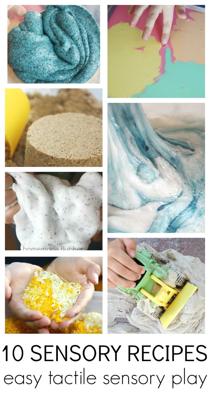 Quick and simple sensory play recipes for toddler, preschool, kindergarten, and grade school age kids to explore their tactile senses! Make sensory play recipes using flour, cornstarch, rice, soap, shaving cream, and sand! easy sensory activities that kids love. Messy sensory play.