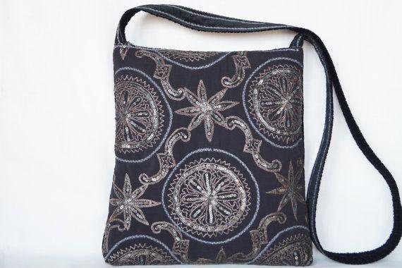 Silver flower black medium size bag vintage bag by bokrisztina