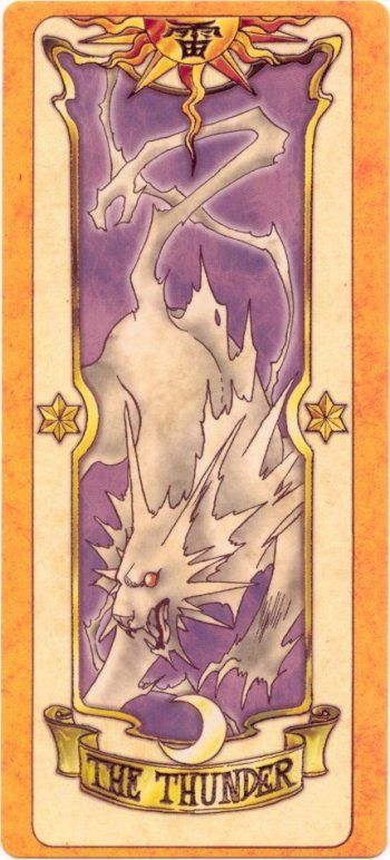Thunder resembles a large fierce wolf and is made out of crackling blue-white energy. Its appearance is similar to Japanese mythology, resembling a raiju or thunder creature.