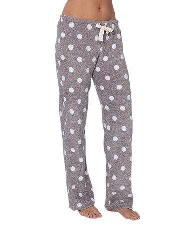 Gray & White Polka Dot Fleece Pajama Pants #zulily #zulilyfinds