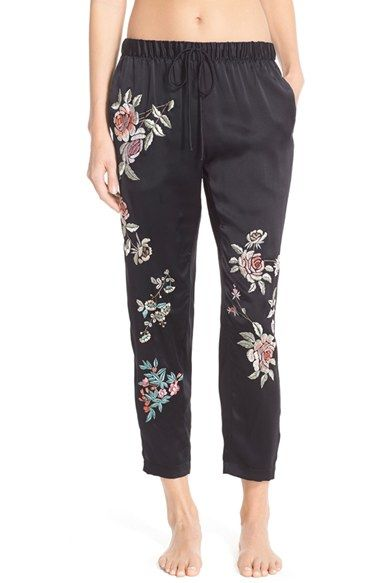Josie Natori Embroidered Silk Pants available at #Nordstrom
