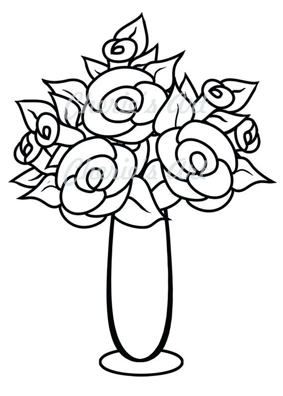 Line Art Flower Vase Digi Stamp Digi Stamp Digital Download Printable Coloring Page Instant Dow Floral Drawing Flower Drawing Flower Vase Drawing