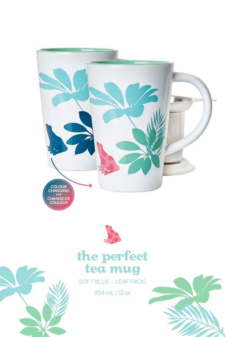 When you add hot water to this mug, the leaves change colour and a pink frog appears.