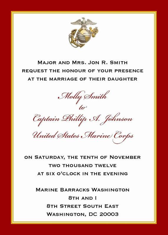 Custom 5x7 Military Wedding Invitation Marine By