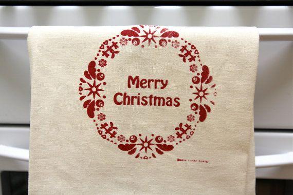 Scandinavian Christmas hand screen printed by susielottadesigns, $24.00
