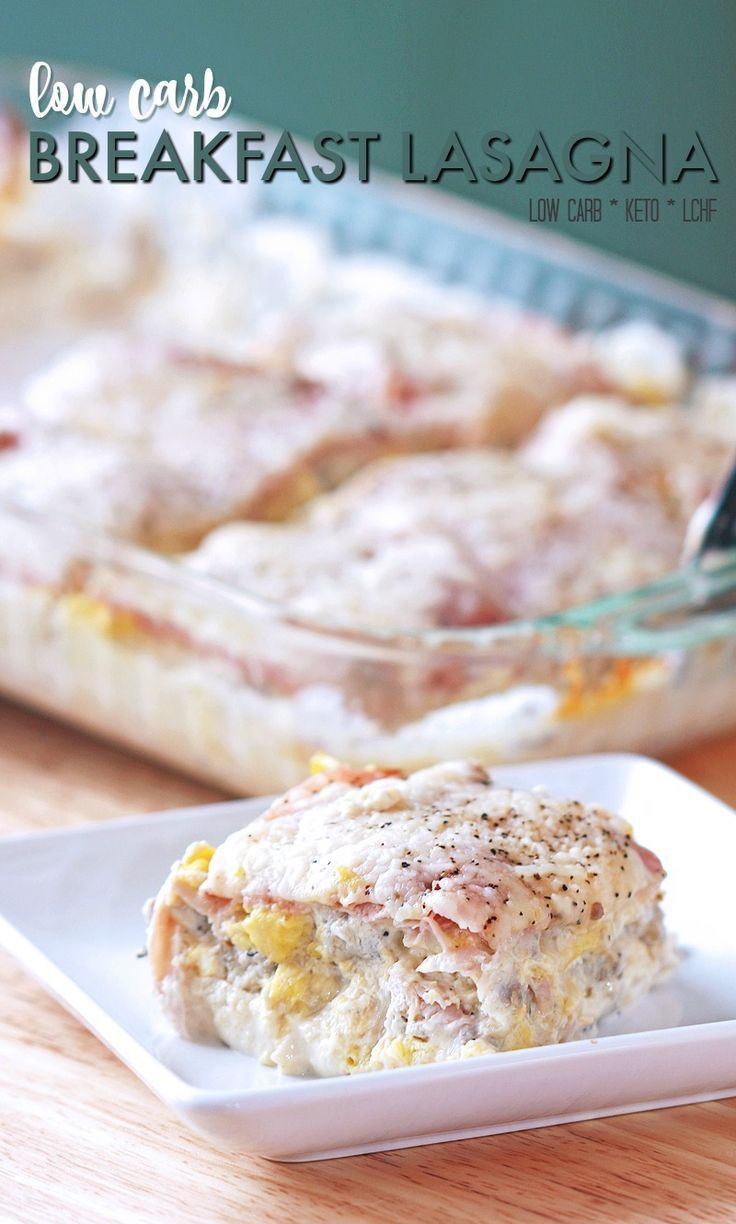 """Breakfast Lasagna - this breakfast lasagna is low carb, lchf and keto since it uses thinly sliced deli ham as the """"noodle"""". It's delicious and low carb!"""