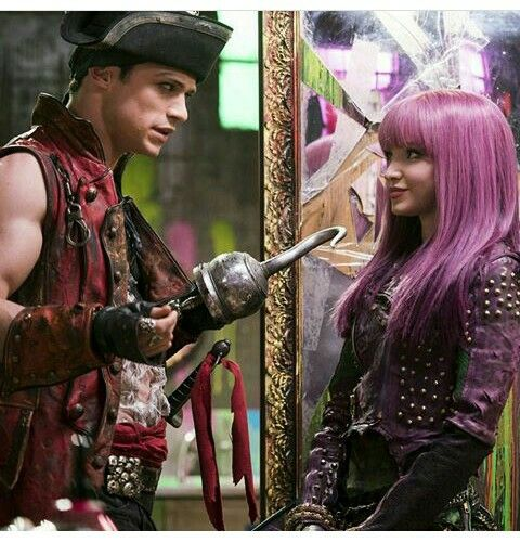 Thomas Doherty as Harry the son of Captain Hook and Dove Cameron as Mal the daughter of Maleficent