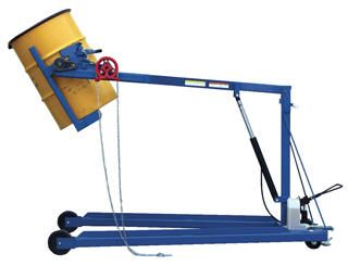 "The Hydraulic Drum Stacker The Drum Stacker is perfect for positioning 55 gallon steel, plastic and fiber drums horizontally on shelves. The solid steel construction provides stability during transit. Drums are held in place with a ratchet mechanism. Drums may easily rotate 360° with rotation method. Unit rolls easily on (2) 8"" x 2"" phenolic casters and (2) 5"" x 2"" swivel polyurethane casters."