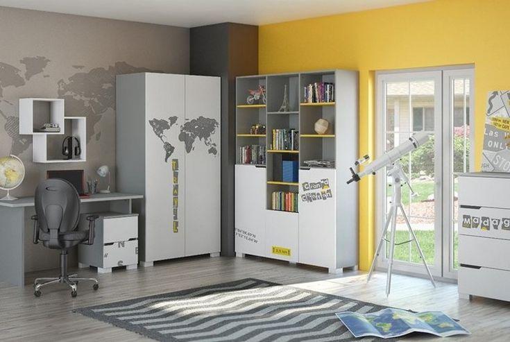 grau und gelb gestrichene Wände im Jungenzimmer