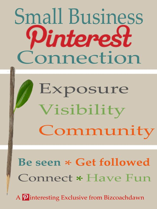 The Small Business Pinterest Connection is an opportunity for small business owners to connect with one another on Pinterest. Having a central location for us to meet gives us collective power and a chance to promote our products and services to a large and growing audience. Here are the steps to get the traffic going: 1) Leave your links (site, blog, store, and social media URLs) in the comments section. 2) Like the pin and repin it  3)  Share the link on your networks to pass the word.