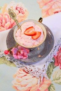 Strawberry Mousse.  An easy dessert that's perfect for a hot summers day.
