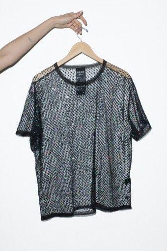 Ashish Net / Bettle Sequins T-Shirt in Black