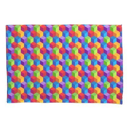#Rainbow Colorful Block Cube Pattern Pillowcase - #Pillowcases #Pillowcase #Home #Bed #Bedding #Living
