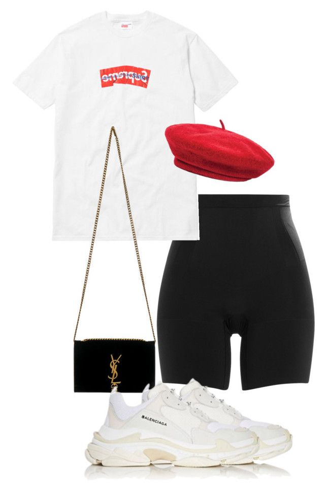 """""""Most hated 🍒"""" by sadgirllmaya ❤ liked on Polyvore featuring SPANX, Comme des Garçons SHIRT, Brixton, Yves Saint Laurent and Balenciaga"""