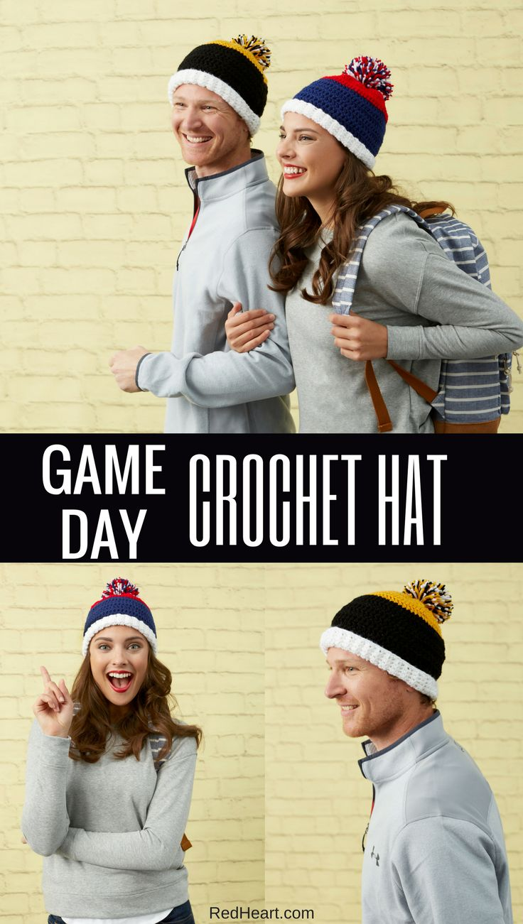 Choose favorite team colors to crochet hats that are perfect for showing your en…