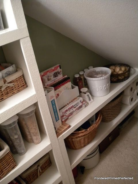 No pantry? Get creative & build in kitchen shelving.