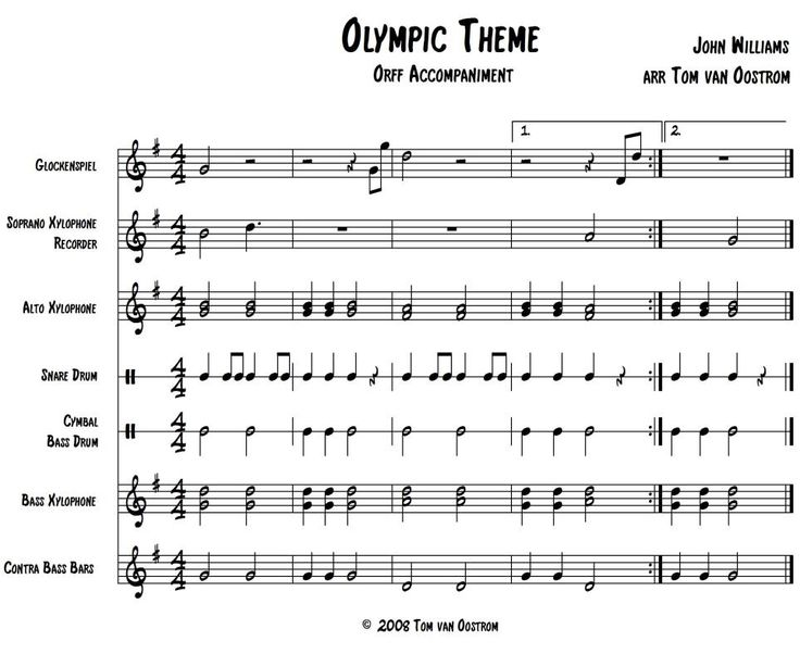 "FREE: Olympic Theme"" Accompaniment for Orff Instruments 