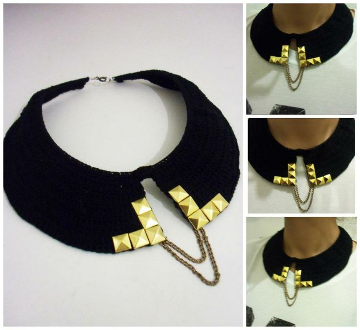 Black lace necklace with gold details, by Macaroni&Style.  https://www.facebook.com/photo.php?fbid=284243418353845&set=a.255780707866783.52292.250924128352441&type=3&theater