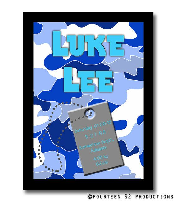 Blue Camo Birth Announcement Poster by 1492productions on Etsy