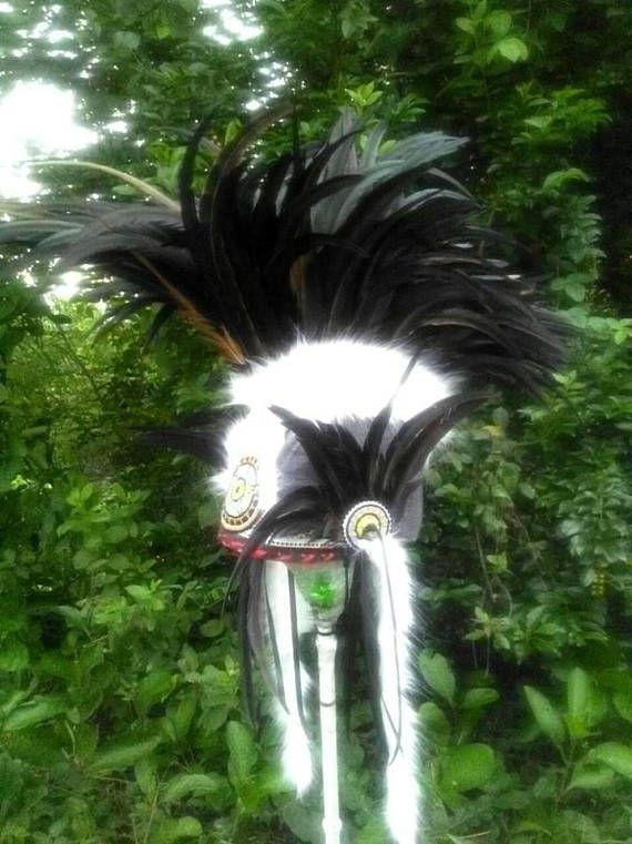 Black Mohawk style Feather Headdress Tribal Warrior