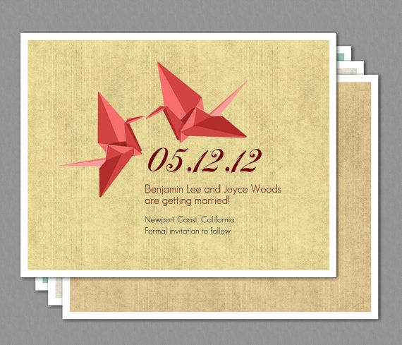 Origami Paper Crane Wedding Save the Date Invitation