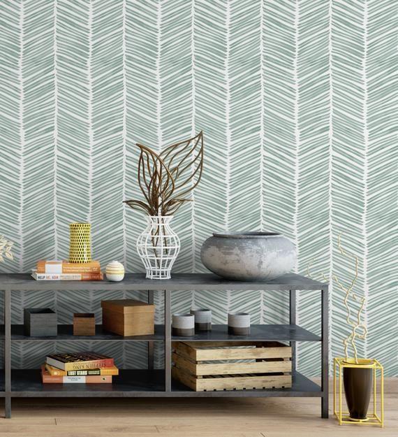 Watercolor Herringbone Aqua Removable Peel N Stick Or Etsy Traditional Wallpaper Peel N Stick Wallpaper Small Bedroom Remodel