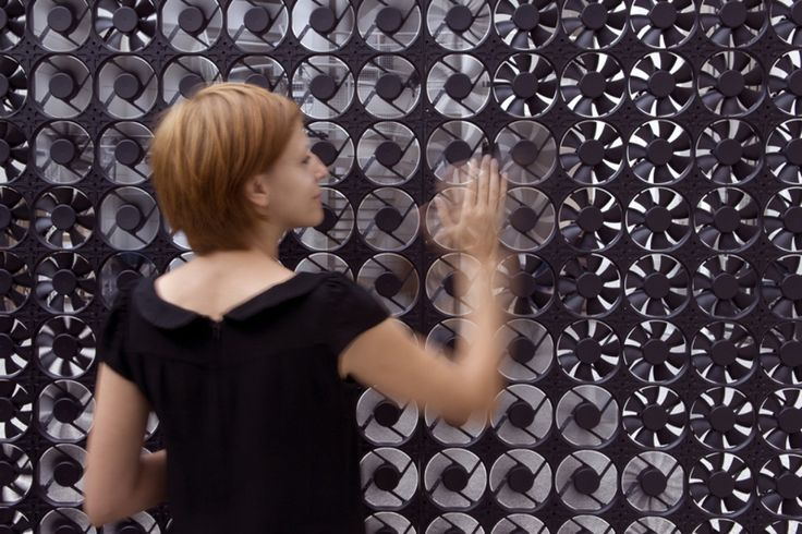 STUDIO ROOSEGAARDE | FLOW 5.0 is a smart wall composed of hundreds of ventilators that interact with passing visitors