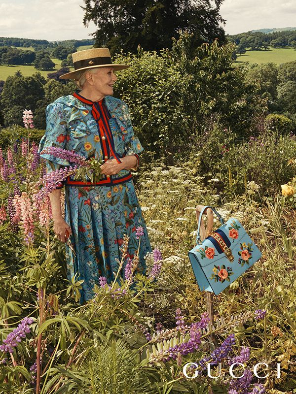 First look: the Gucci Cruise17 campaign, set in the grounds and interior of Chatsworth, and starring acclaimed actress Vanessa Redgrave, who wears a printed ruffled silk twill top with Web stripe trim and pleated skirt, and the Gucci Sylvie bag embroidered with roses. A plush long coat with panther embroidery.