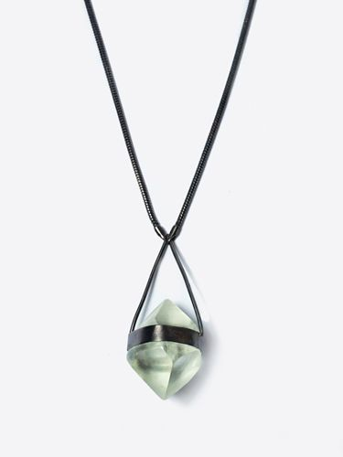 100 best necklaces images on pinterest gold chains gold necklaces macha zuki necklace gunmetal a clear resin octahedral shaped pendant suspended from a gold aloadofball Image collections
