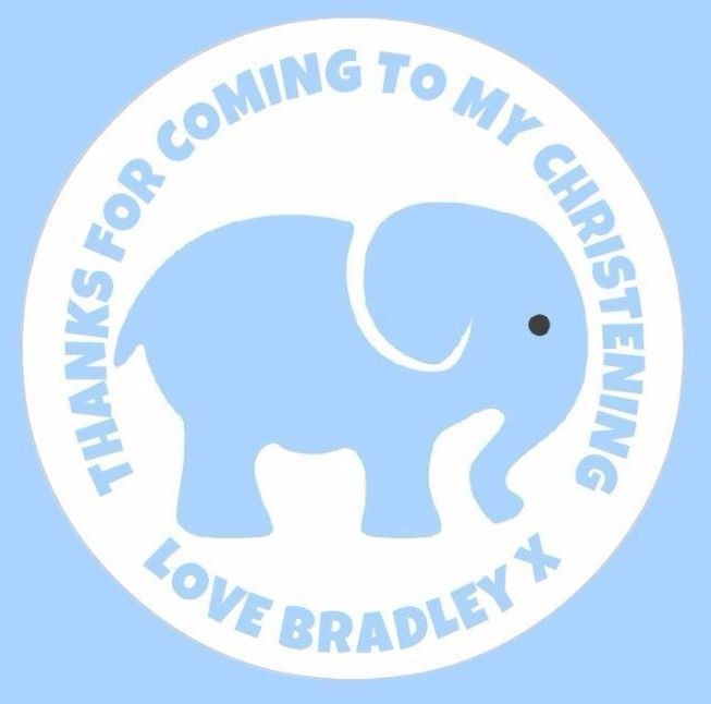 48 Personalised Boy Blue Elephant Christening Stickers Thankyou Sweet Cones Bags in Home, Furniture & DIY, Celebrations & Occasions, Party Supplies   eBay!