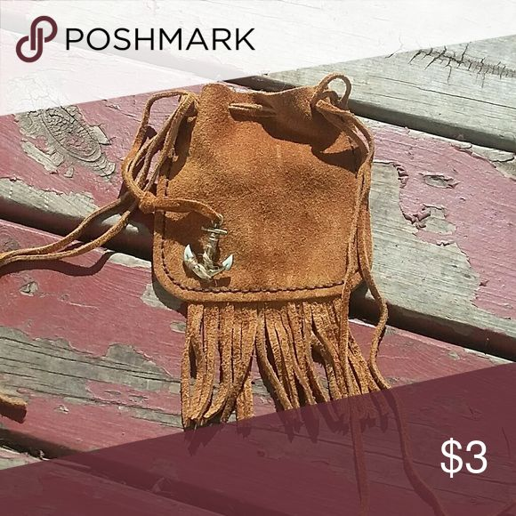 handmade leather drawstring bag with anchor charm 100% leather Bags Clutches & Wristlets