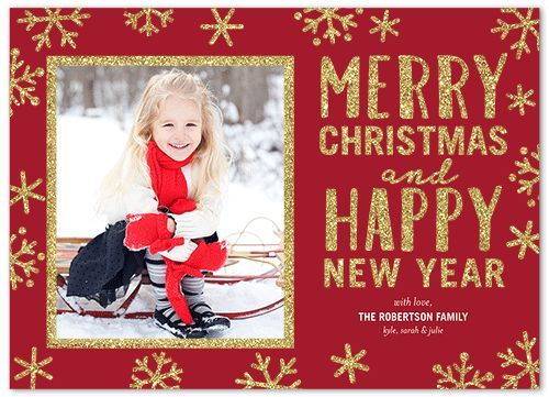 Twinkling Snowflake Frame Christmas Card, Square Corners, Dynamiccolor