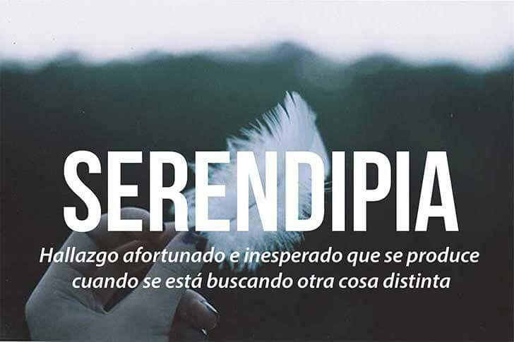 Serendipia: hallazgo afortunado e inesperado que se produce cuando se esta buscando otra cosa distinta.