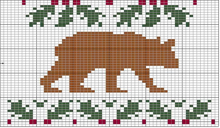 Holly Bear knitting chart