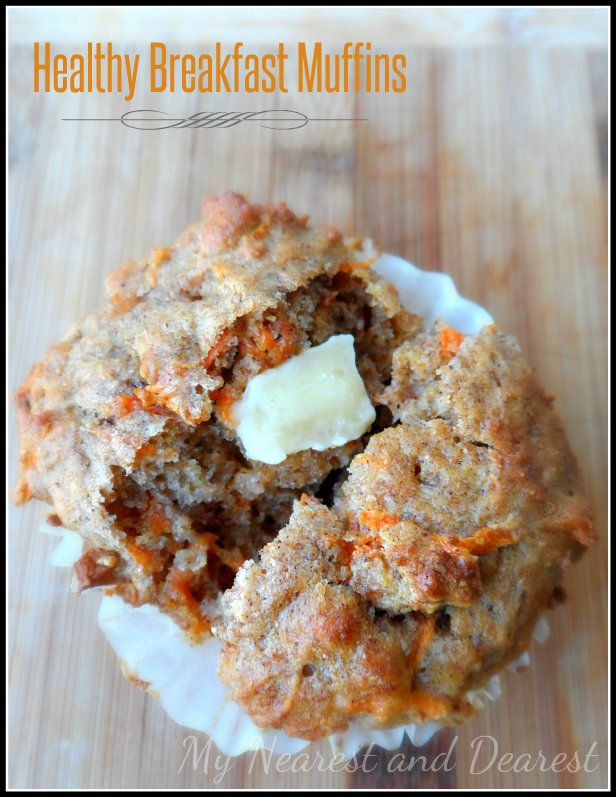 Healthy Breakfast or Snack Muffins from My Nearest and Dearest. Banana, carrot and Greek Yogurt. An easy one for the kids to help make.