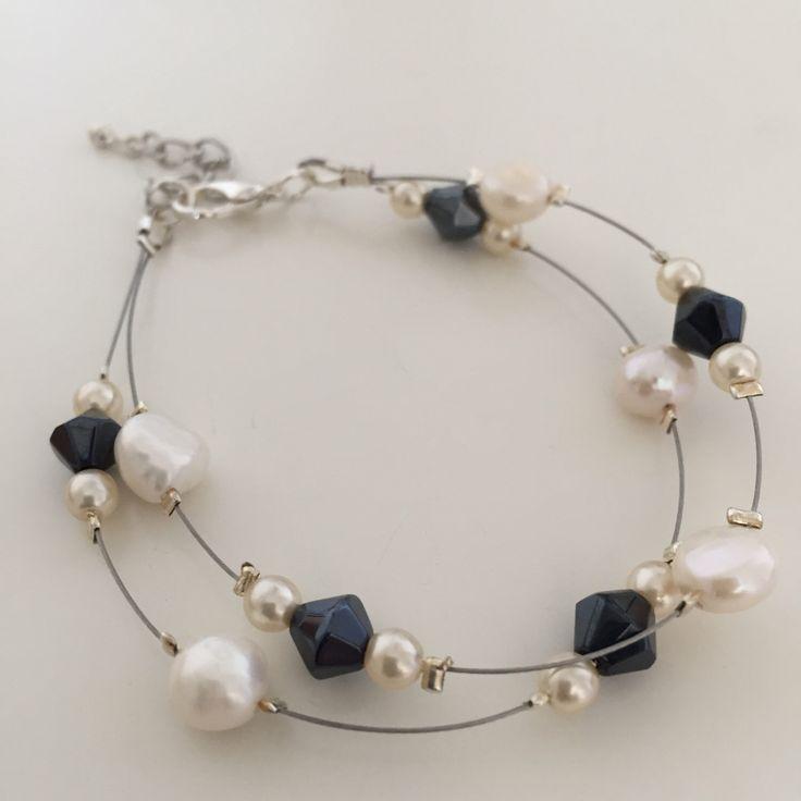 Lily, Bracelet (White/Blue) by MrsGillmore on Etsy https://www.etsy.com/listing/254153614/lily-bracelet-whiteblue