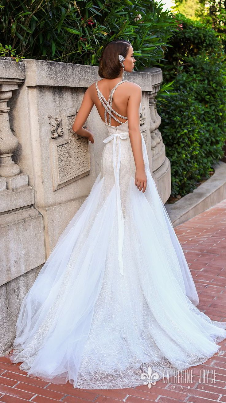 katherine joyce 2018 bridal double strap sweetheart neckline full embellishment elegant a line wedding dress cross trap back chapel train (rebeca) bv -- Katherine Joyce 2018 Wedding Dresses