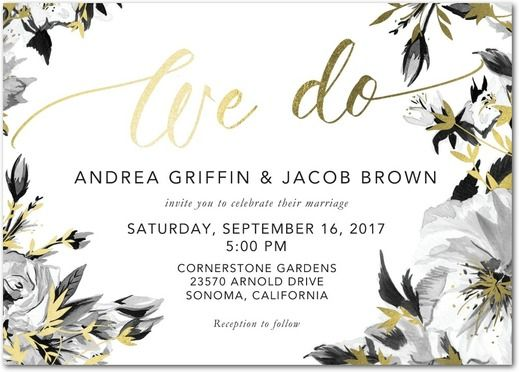 white and black floral wedding invite with metallic gold foiling
