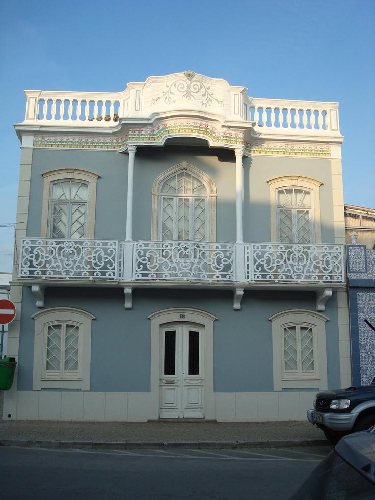 Grey House White Ironworked Windows - Tavira, Portugal